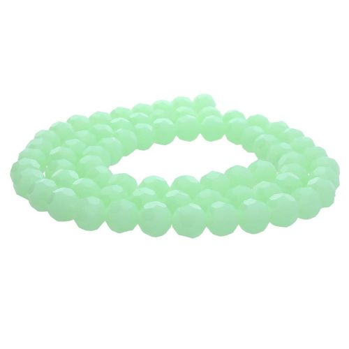 CrystaLove™ crystals / glass / faceted round / 8mm / milky pistachio / lustered / 65pcs