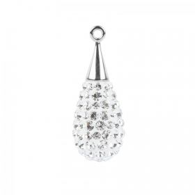 67563 Swarovski Crystal Pave Drop 10x26mm Rhodium Plated Crystal Pk1