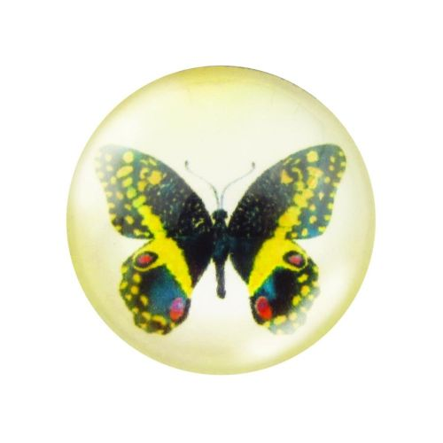 Glass cabochon with graphics 25mm PT1527 / black and yellow / 2pcs