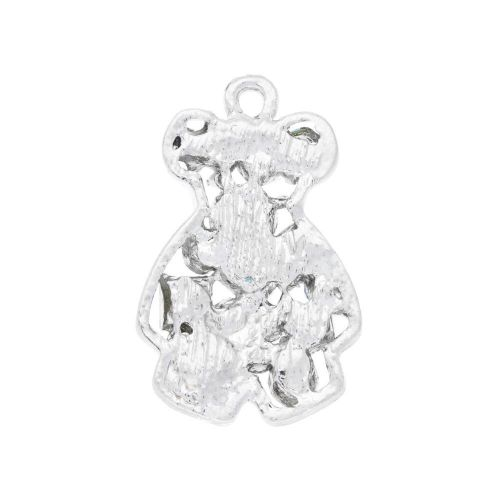 Glamm ™ Bear / charm pendant / with zircons / 26x17x3.5mm / silver plated / multicolour / 1pc
