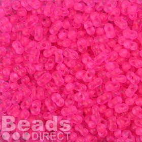 Preciosa Farfalle Seed Beads Frosted Neon Pink 3.2x6.5mm 10g