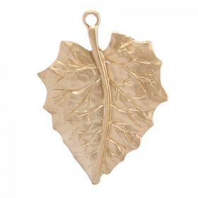 Matte Gold Plated Large Fancy Leaf Charm 48x70mm Pk1