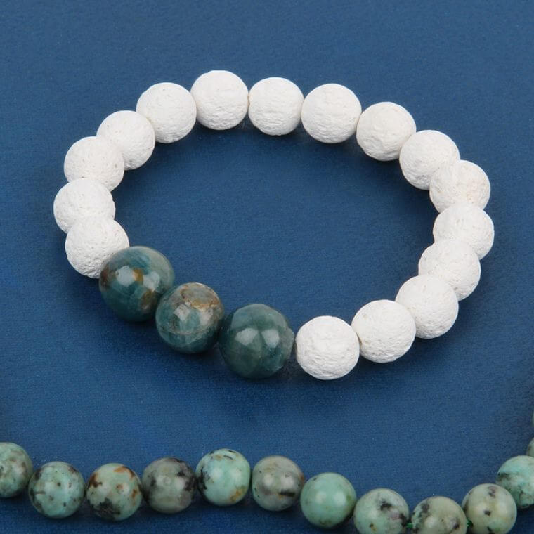 White Lava and Semi Precious Bracelet