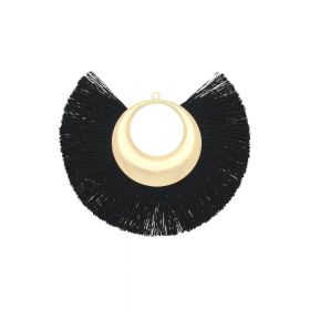 Fan tassel / viscose thread with moon base / 90mm / black / 1pcs