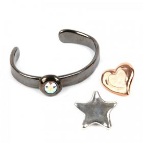 Gunmetal Bangle Kit with Glue, Bag & 3 Pins - Star, Heart, Crystal