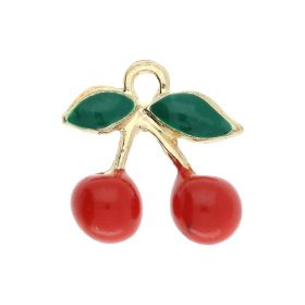 FancyCharm™ / cherries / charm pendant / 17x16x6mm / gold plated / red-green / 1pcs