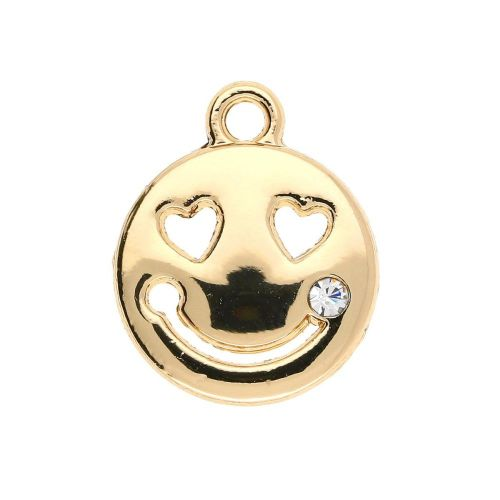 Smiley face / charm pendant / 1 cubic zirconia / 16x13x2mm / gold plated / 2pcs