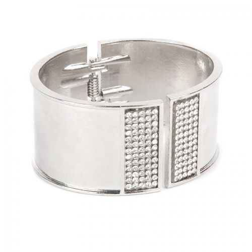 Silver Plated Bangle Cuff Base with Crystals 50x60mm with diameter cord space-28mm Pk1