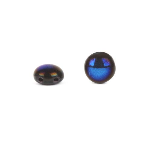 X-Preciosa Pressed Glass Candy Twin Hole Beads Black/Blue 8mm Pk30