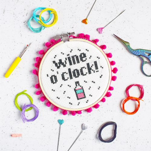 The Make Arcade Cross Stitch Wine o' Clock Kit