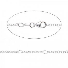 Sterling Silver 925 Adjustable Figaro Chain Necklace with Clasp 18""