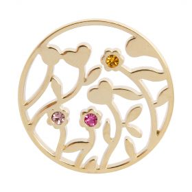 Gold Plated Flower Filigree Coloured Crystal Coin For Interchangeable Locket 32mm Pk1