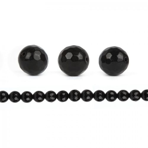 Black Faceted Hematite 10mm Round Beads Pk10