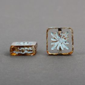 Amber/Blu Preciosa Czech Glass Patterned Square 10mm Pk10