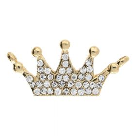 Glamm™ / crown / connector / 38 zircons / 35x16x3mm / gold plated / hole 2mm / 1pcs