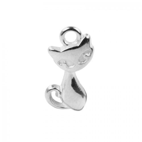 X Antique Silver Zamak Cat Charm 12x16mm Pk1