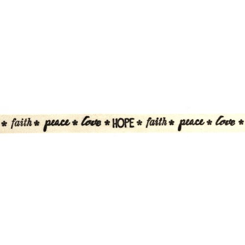 Love/Hope/Faith/Peace Printed Ribbon Black/Cream 8mm 1metre