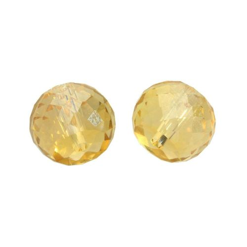 CrystaLove™ crystals / glass / faceted round / 8x10mm / tea / transparent / iridescent / 6pcs
