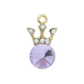 Glamm ™ Spotlight Crown / charm pendant / with zircons / 18x9.5x5mm / antique gold plated / Violet / 1pcs