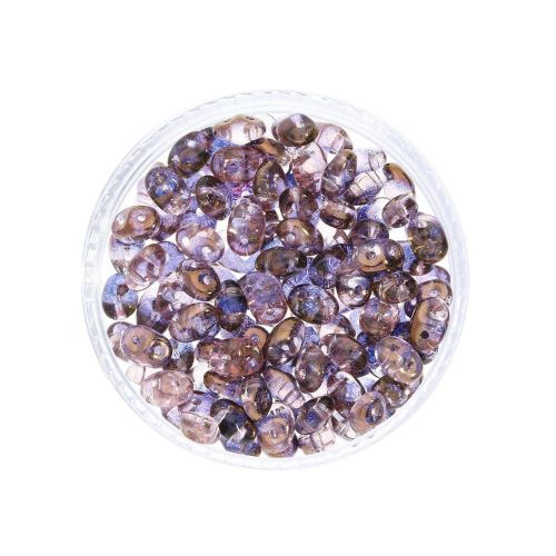 SuperDuo™ / glass beads / 2.5x5mm / Luster Bronze / Rosaline / 10g / ~140pcs