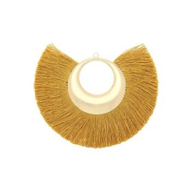 Fan tassel / viscose thread with moon base / 90mm / honey / 1pcs