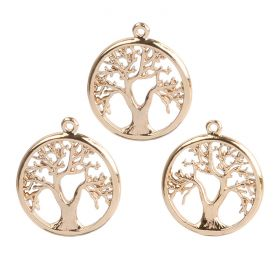 Gold Plated Tree of Life Charms 15mm Pk5