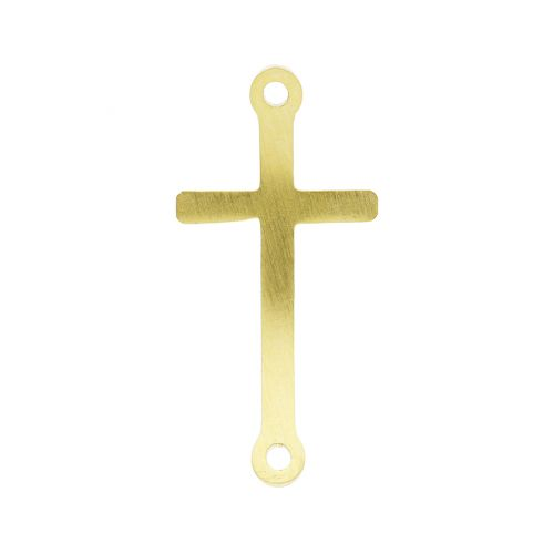 Cross / connector / surgical steel / 25x12x1mm / gold / 1pcs