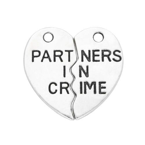 Heart / Partners in crime / charm pendant / 19x10x1.5mm / silver / 2pcs