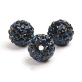 Dark Blue Round 10mm Essential Shamballa Fashion Bead Pk3