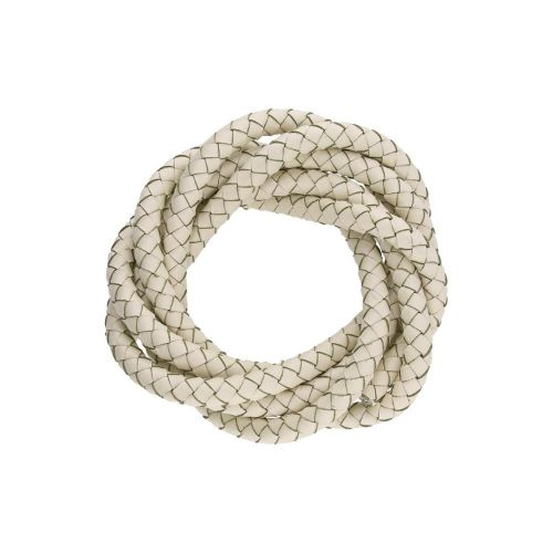 Leather cord / natural / round / braided / 5mm / cream / 1m