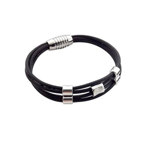 Natural leather / round / 1.5mm / black / 2m