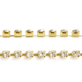 Gold Plated Cupchain 2mm Clear Crystal Pre Cut 1m Length