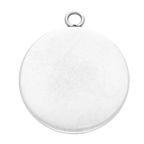 Pendant / round cabochon base 14mm / surgical steel / 19x15mm / silver / 2pcs