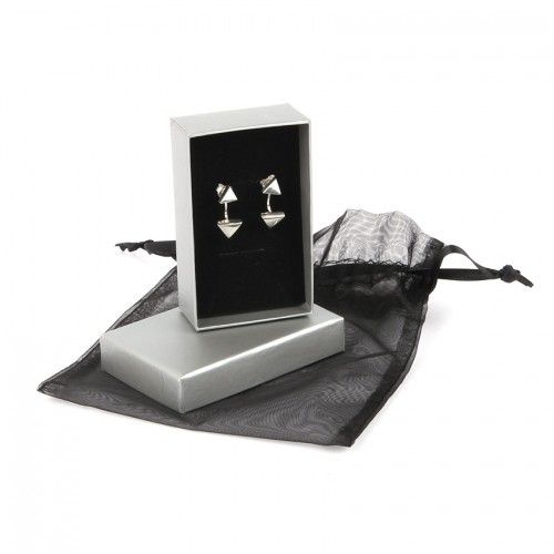 Ready To Wear Sterling Silver 925 Triangle Earring Jacket Set with Gift Box