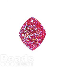 Fuchsia AB Sparkly Resin Large Diamond Flat Back Cabochon 21x27mm Pk5