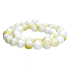 Seashell / round / 6mm / white-yellow / 64pcs