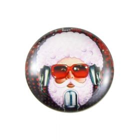 Glass cabochon with graphics K20 PT1018 / pink-black / 20mm / 2pcs