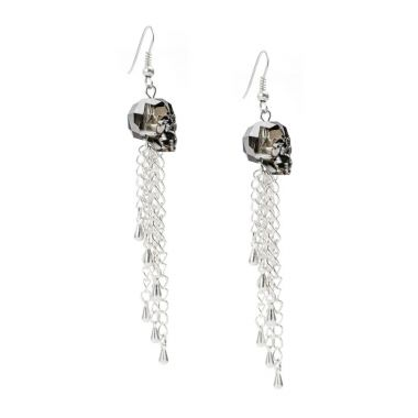 Silver Night Skull Earrings made with Swarovski
