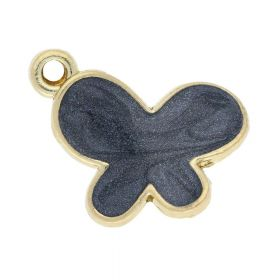SweetCharm ™ Butterfly / charm pendant / 18x15x3mm  / gold plated / black / 2pcs