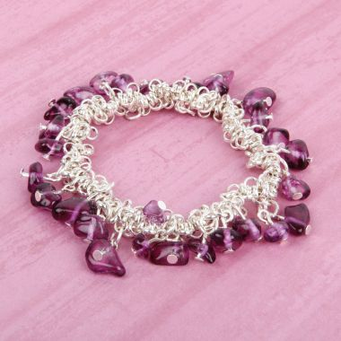 Purple Treasure Stretchy Chip Bracelet