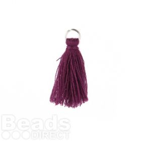 Purple Cotton Pom Pom Tassel Charm with Rhodium Ring 25-30mm Pk2