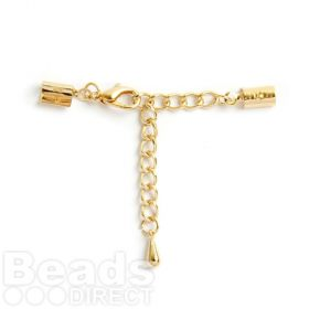Gold Plated Extension Chain with 12mm Lobster Clasp 3mm Cord Ends Pk1