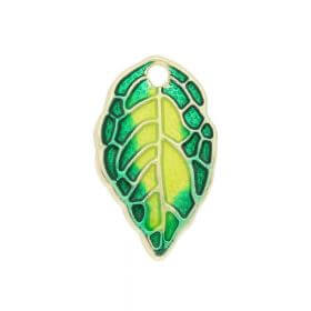 FancyCharm™ leaf / charm pendant / 16x9.5mm / gold plated / green-yellow / 1pcs