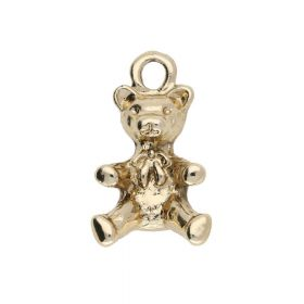Teddy bear / charm pendant / 20x11x10mm / gold plated / 2pcs