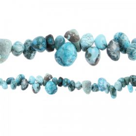 "Blue Moss Agate Hand Crafted Nugget Beads 7"" Strand"