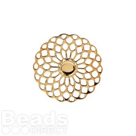 Gold Plated Filigree Flower Holds SS20 25mm Pk1