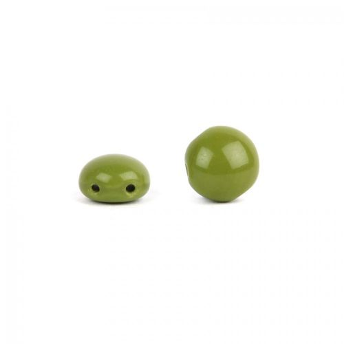 Preciosa Pressed Candy Twin Hole Bead Moss Green 8mm Pk30