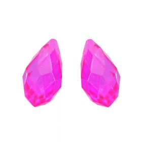 CrystaLove ™ / glass crystal / drop / 8x13mm / neoon pink / transparent / 4pcs