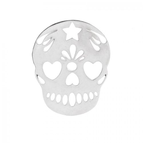 """X"" Sterling Silver 925 Mexican Sugar Skull Charm 15x18mm Pk1"