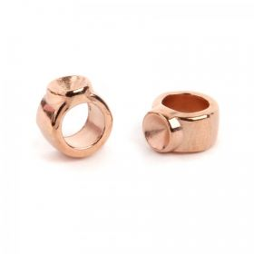 Rose Gold Plated Zamak 1xPP34 Slider Bead 4.5x8mm Pk2